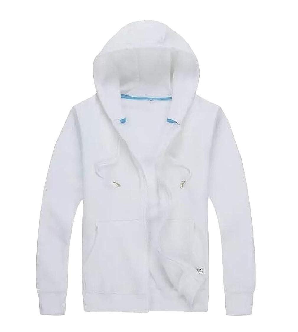 pipigo Mens Jacket Sports Drawstring Slim Hoodie Thicken Sweatshirts