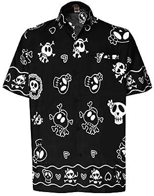 La Leela Skull Scary Beach Casual Button Down Aloha Men's Hawaiian Shirt Black