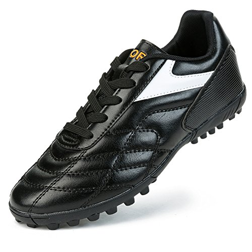 Barerun Men's Boys Turf Cleats Soccer Athletic Football Outdoor/Indoor Sports Shoes Black 10 (D) M US (Indoor Soccer Turf)