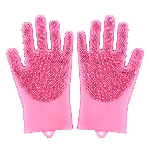 MSOO Reusable Silicone Cleaning Brush Dishwashing Gloves Heat Resistant ()