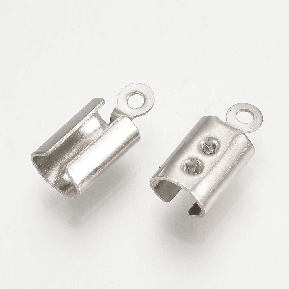 PandaHall estremit/à del Cavo in Acciaio Inossidabile 100 pz 304 per Bracciale Intrecciato con Cinturino in Pelle 3 mm Cinturino in Pelle Color Acciaio Inox,13x9mm,Foro