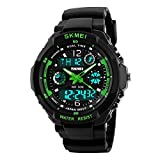 Kids Digital/Analog Watches Waterproof Sports Multi-Functional Wristwatch with Alarm and LED Light Children Wristwatches for Boys/Girls (Green(Digital&Analog))