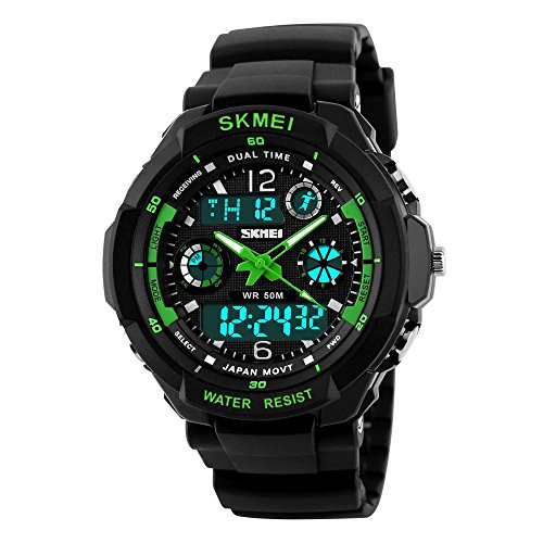 Techart Glass - Kids Digital/Analog Watches Waterproof Sports Multi-Functional Wristwatch with Alarm and LED Light Children Wristwatches for Boys/Girls (Green(Digital&Analog))