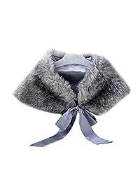 ICEGREY Little Girl Bow Tie Faux Fur Shawl Stole Wedding Party Wrap