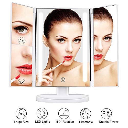 Outtop Lighted Makeup Mirror, Vanity Makeup Mirror with LED Lights and 3X/2X Magnification, Dimmable Touch Screen Tabletop Cosmetic Mirrors, 180 Degree Free Rotation, Battery or USB Charging, White -