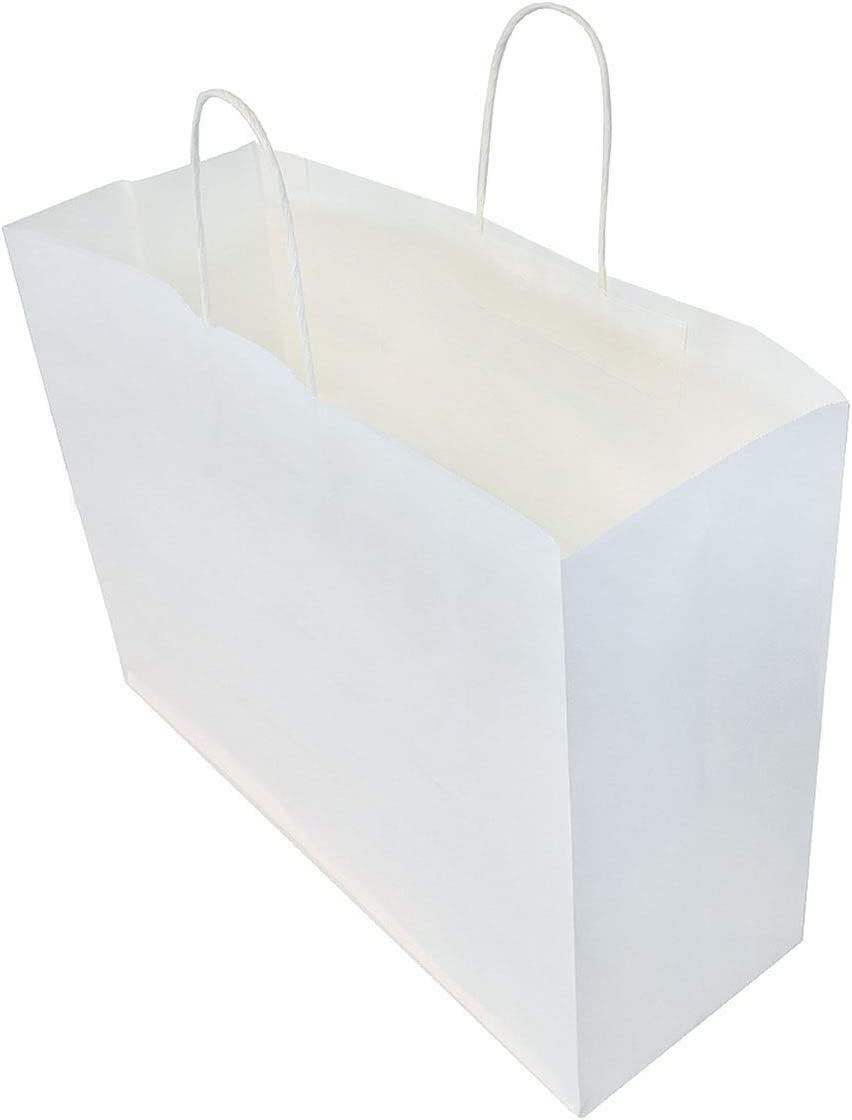 "16x6x12"" - 50 Pcs - White Paper Shopping Bags, Kraft Bags with Handles, Gift Bags, White Bags Bulk"