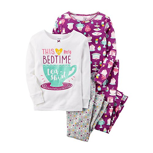 Carter's Girls' 12M-12 4 Piece Bedtime Tea Pajama Set Purple 24 Months - Florida Bed Set