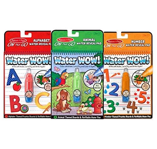 Melissa & Doug Water Wow! Reusable Color with Water On the Go Activity Pad 3-Pack, Animals, Alphabet, Numbers, 10