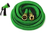 GrowGreen Expandable Garden Hose, Water Hose with High Pressure Hose Spray Nozzle, Flexible Garden Hose with All Brass Connectors (50 Feet)