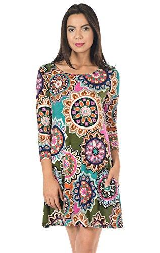 Side Comfy 3 Women's Tunic 7659hy Line Sleeve Pocket Multi Line Dress 4 Print Cody Olive A xwvY5PqOE