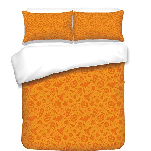 iPrint 3Pcs Duvet Cover Set,Halloween Decorations,Monochrome Design with Traditional Halloween Themed Various Objects Day,Orange,Best Bedding Gifts for Family/Friends for $<!--$118.89-->