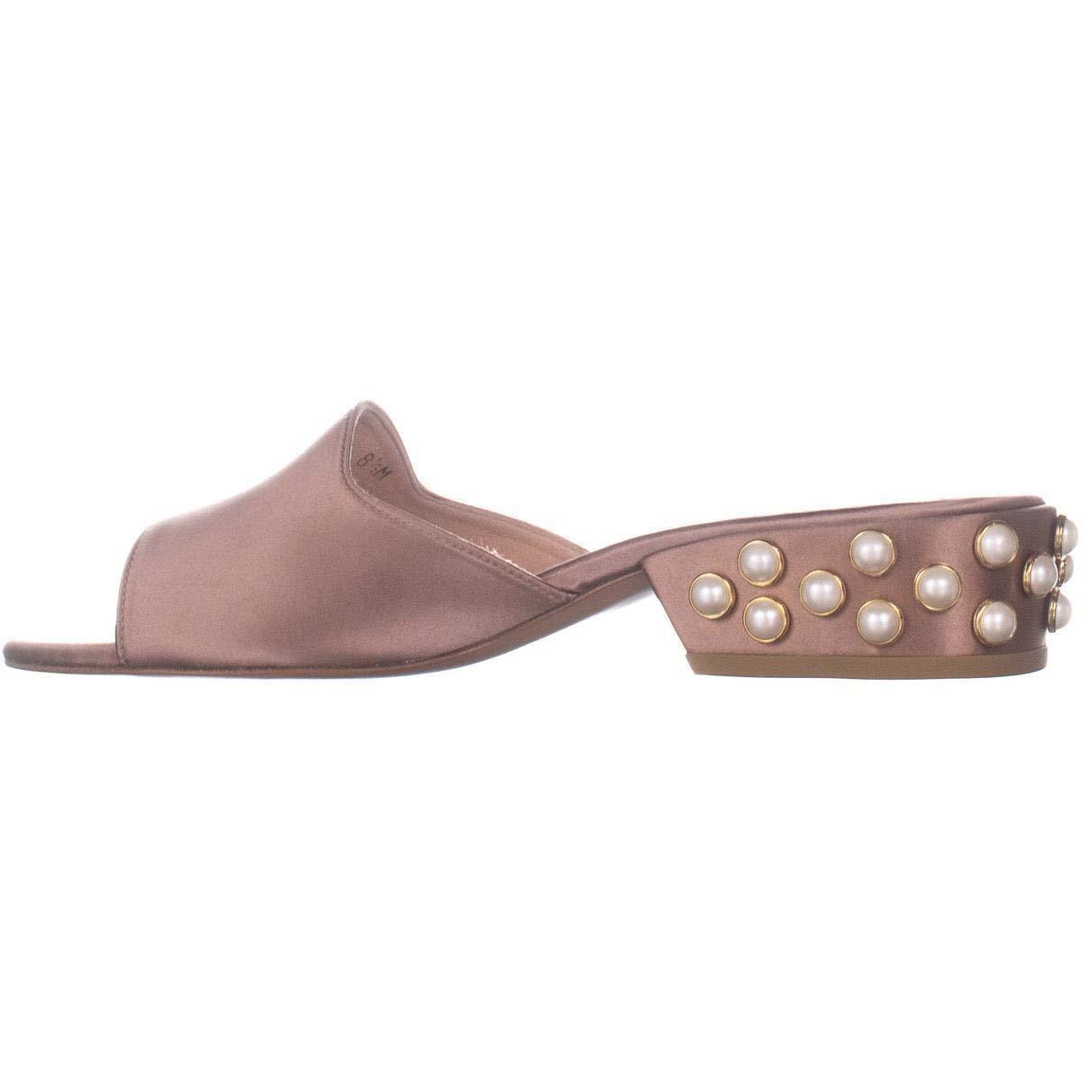Stuart Weitzman Sliderpearl Studded Heel Slide Sandals 7 US Adobe