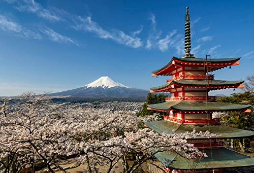 Baocicco Backdrop 5x3ft Mount Fuji with Pagoda Vinyl Photo Background Cherry Trees Japan Famous Natural Scenery Photo Booth Prop Backdrops for Travel Vacation Holiday -