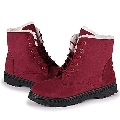 Wicky LS de esquí para mujer piel botas de nieve caliente Zapatillas zapatos de plataforma Rojo