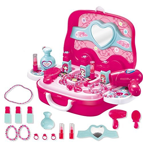 Toys N Smile Beauty Makeup Pretend Play Toy Set for Girl with Makeup Accessories and Carry Suitcase,Plastic,Multi color…