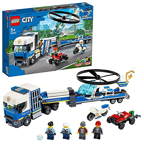 LEGO 60244 City Police Helicopter Transport with ATV Quad Bike, Motorbike and Truck with Trailer