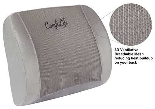 51rQevZT9vL - ComfiLife-Lumbar-Support-Back-Pillow-Office-Chair-and-Car-Seat-Cushion-Memory-Foam-with-Adjustable-Strap-and-Breathable-3D-Mesh