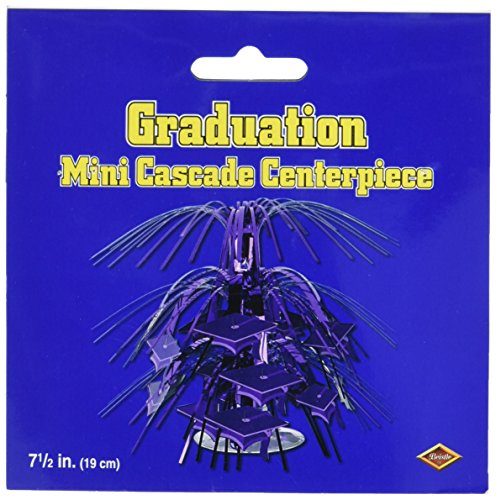 (Mini Grad Cap Cascade Centerpiece (purple) Party Accessory  (1 count) (1/Pkg))