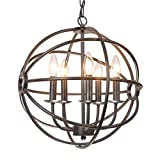 Benita 5-light Antique Black Metal Strap Globe Chandelier, Classic and Modern Style