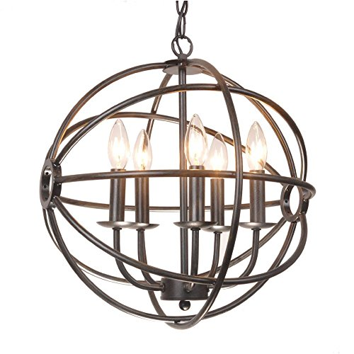 Benita 5-light Antique Black Metal Strap Globe Chandelier, Classic and Modern Style by The Lighting Store