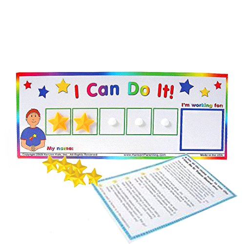 "Kenson Kids ""I Can Do It!"" Token Board. Colorful Magnetic Rewards Chart with Positive-Reinforcement Stars and Customizable Goal Box. Great for Ages 3-10. Measures 5-Inches by 9-Inches"