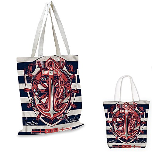 Anchor Patterned shopping bag Marine Symbol Design Rudder Rope Anchor Chain Navy Striped Backdrop Merchant expandable bag shopping Beige Indigo - Chain 7 Marina Inch