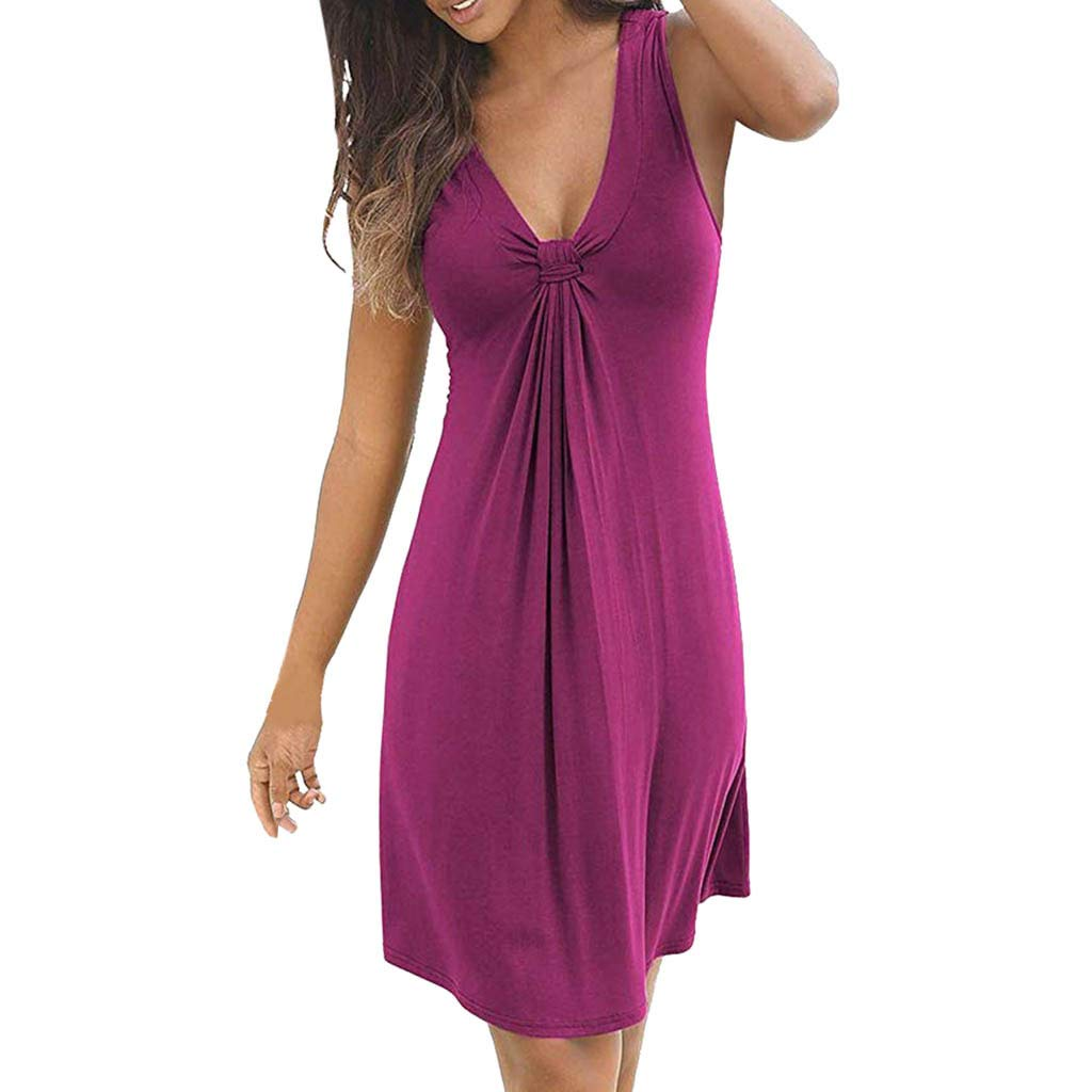 wodceeke Womens Casual Loose V-Neck Sleeveless Solid Color Sundress Mini Dress(Hot Pink,XL)