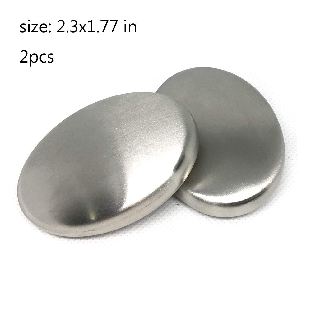 2 PCS Stainless Steel Soap, Odor Remover Bar - Eliminating Onion Garlic Fish Smell Hands and Skin Other Strong Scents from Kitchen Gadge