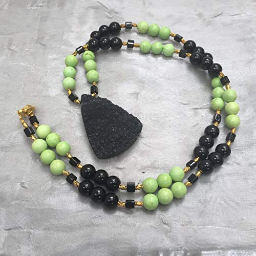 Green black necklace, Large black pendant, 27