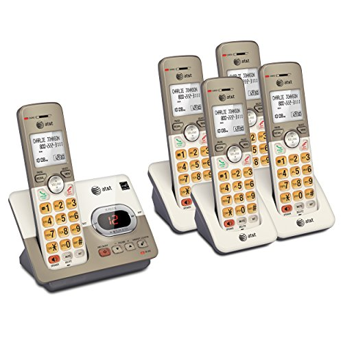 AT&T 5 Handset DECT 6.0 Cordless Phone Bundle with (1) EL52313 Phone System & (2) EL50013 Handsets (6.0 Handset One Dect)