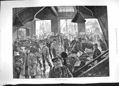 old-print Print 1886 Fine Art Billingsgate Fish Market Fishermen 458P188 ()