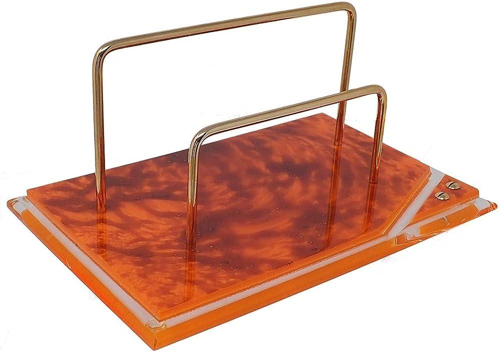Portasobres metacrilato naranja detalles dorados [AB9219]: Amazon.es: Joyería