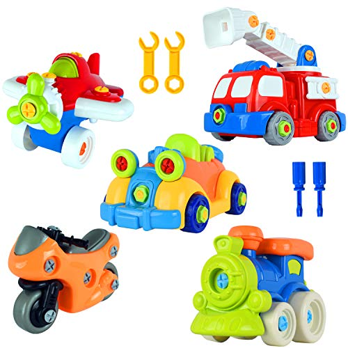 WolVol 97-Piece Take-A-Part Building Vehicles Set - Toddler Assembly STEM Toy - Take Apart for Boys & Girls - Screwdriver Included - Airplane, Car, Fire Truck, Motorcycle, Train, - - Assembly Vehicle Building