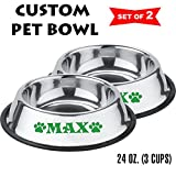 Cheap Jeyfel Decals: Personalized Stainless Steel Pet Bowl Set. Dog, Cat. 24 OZ. (3 CUPS) (Green)