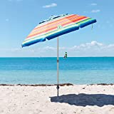 Tommy Bahama 2016 Sand Anchor 7 feet Beach Umbrella with Tilt and Telescoping Pole (Red/Blue/White Striped) For Sale