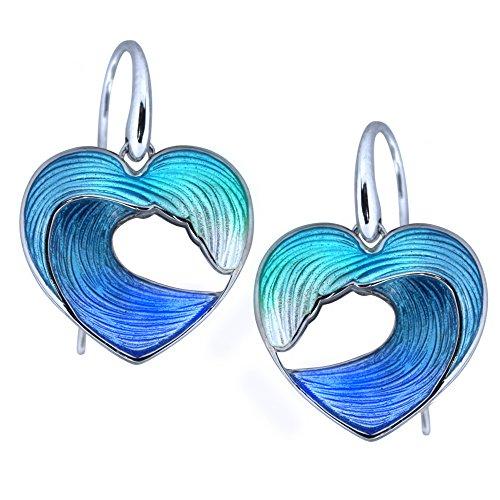 Guy Harvey Heart of the Sea - Sterling Silver and Vitreous Enamel Earrings