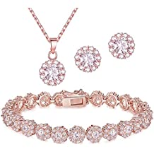 18K Rose Gold Plated Round Cut Cubic Zirconia Bracelet, Necklace and Earrings Jewelry Set