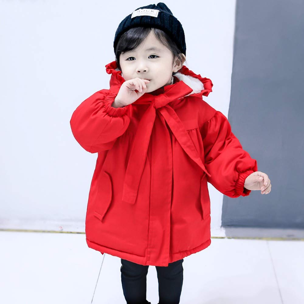 KONFA Toddler Baby Girls Winter Warm Clothes,Hooded Cotton-Padded Jacket Wind Dust Coat,for 1-3 Years Kids