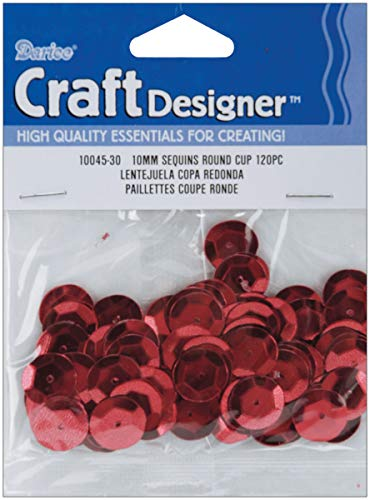 Cupped Sequins Red 10mm (2 Pack)