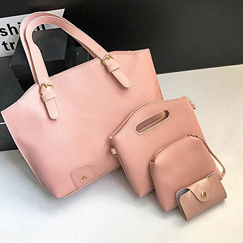 Fashion 4pcs Pure Widewing Pink Bag Set Color Clutch Bag PU Handbag Card Women Shoulder AEdqTwRq