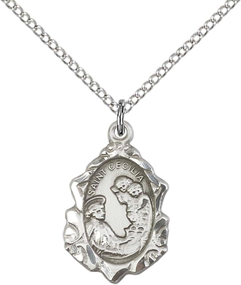 Saint Cecilia Silver Pendant With 18 Inch Silver Chain