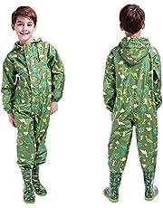 TURMIN Flickor pojkar pöl kostym baby huva regndräkt regnkläder vattentät kostym regnrock allt i ett småbarn en del regndräkt med reflektor genomskinlig hattkant för barn 2–14 år
