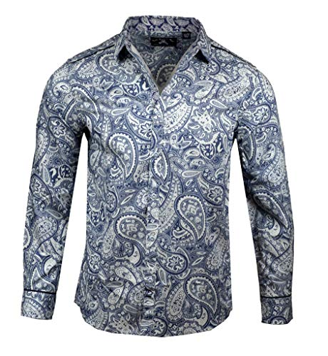 Deluxe Long Sleeve Shirt - Men's Paisley Long Sleeve Shirt in Indigo Hillbilly Deluxe RRMW227IND (M)