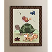 Woodland Animal Tales Nursery Art Prints (11 x14 , Turtle and Bird)