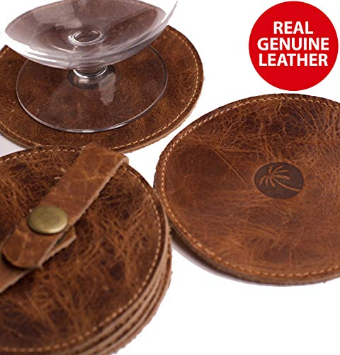 Classy Leather Drink Coasters - Best Stylish Bar Drinks Coaster Set for Modern House Warming Presents - Costers Furniture Accessories - Coaters - Leather Coaster Drink
