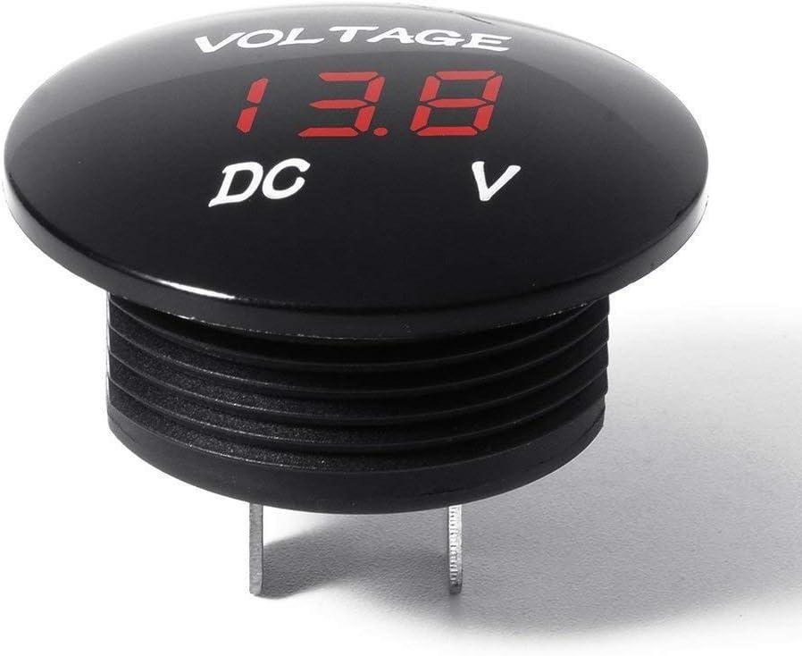 Voltage Meter DC 12V-24V Universal for Car//Motorcycle//Truck ZYTC Mini Waterproof Voltmeter with LED Digital Display Blue