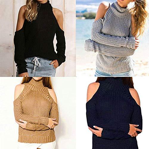 Size Plus Solides Blouse Fashion Tops Col Pour Femmes Ladies Fuxitoggo Sans Roulé Pull Longues Tricoté Manches Bretelles Les À Womens Noir S41xBFwFt