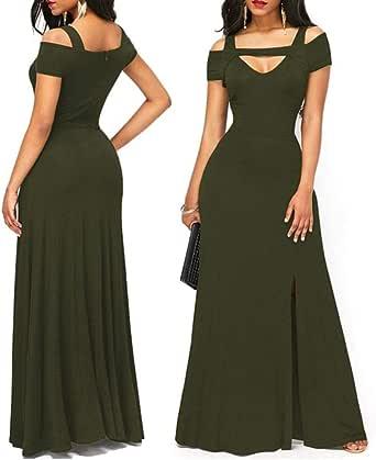 Women's V Neck Cold Shoulder Long Formal Evening Gowns
