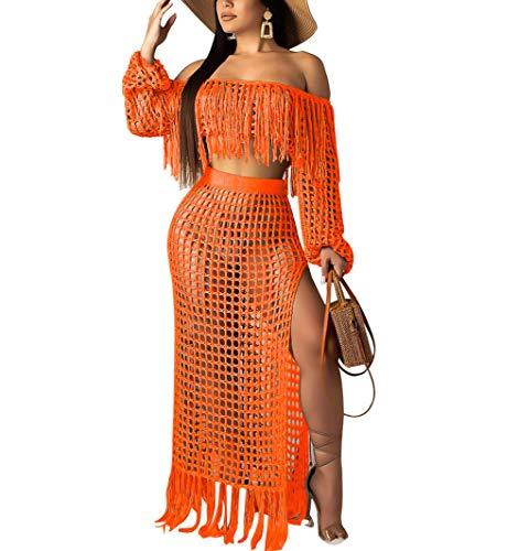 Women Two Piece Skirt Set - Tassel Hollow Out Off Shoulder High Split Cover Up Bikini Beach Dresses (Orange, - Crochet Orange