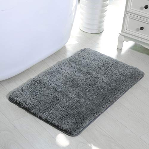 (HAOCOO Shaggy Bathroom Rugs Runner, Bathroom Floor Mats Carpet Non-Slip,Water Absorbent, Machine-Washable, Soft Thick Plush Bath Rug for Doormats Tub Shower (20x31 inch,Gray))